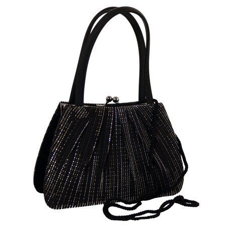 Black Fashion Clutch Purse With Silver Sparkle Like Accents PS204 ()