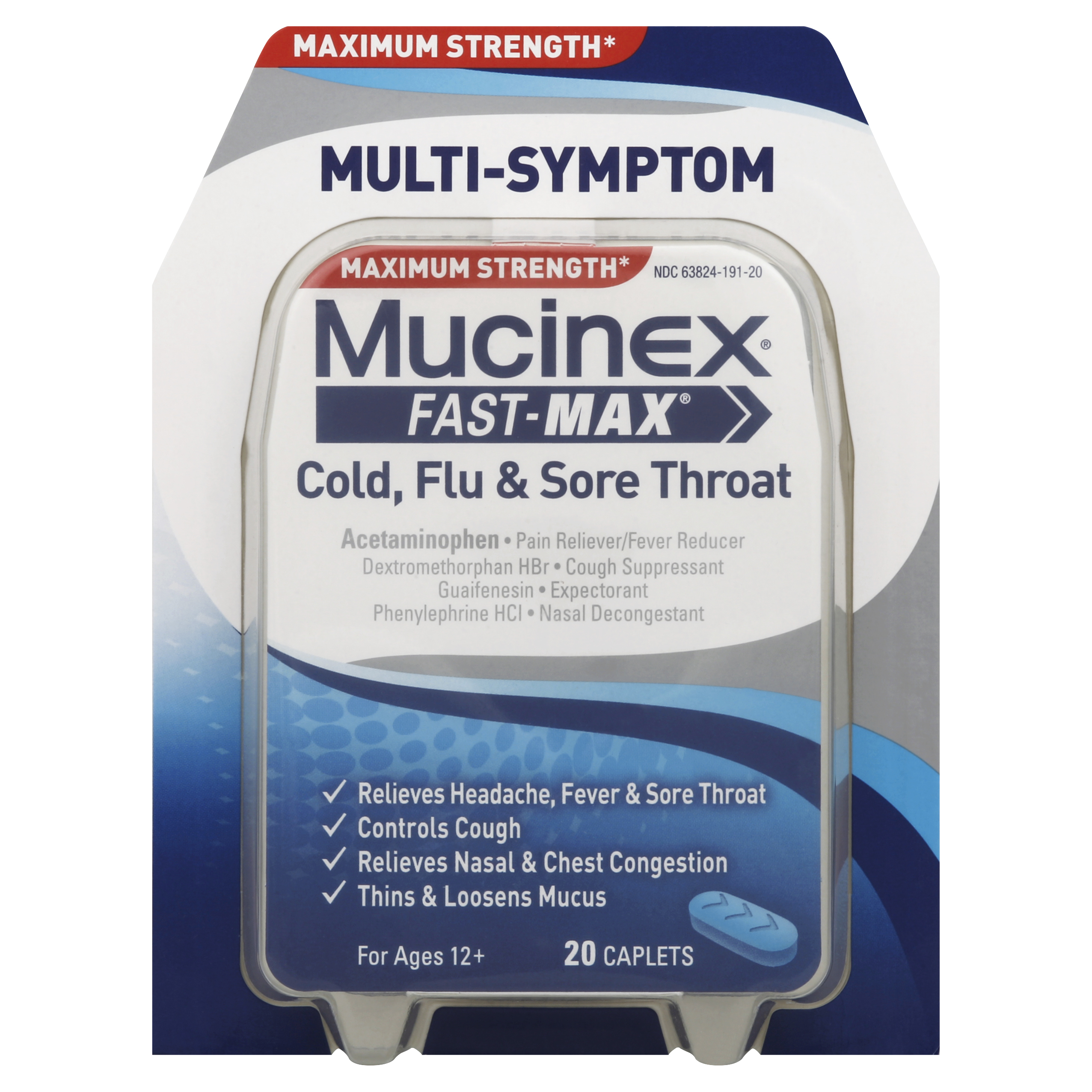 Mucinex Fast-Max Adult Cold, Flu and Sore Throat Caplets, 20 Count