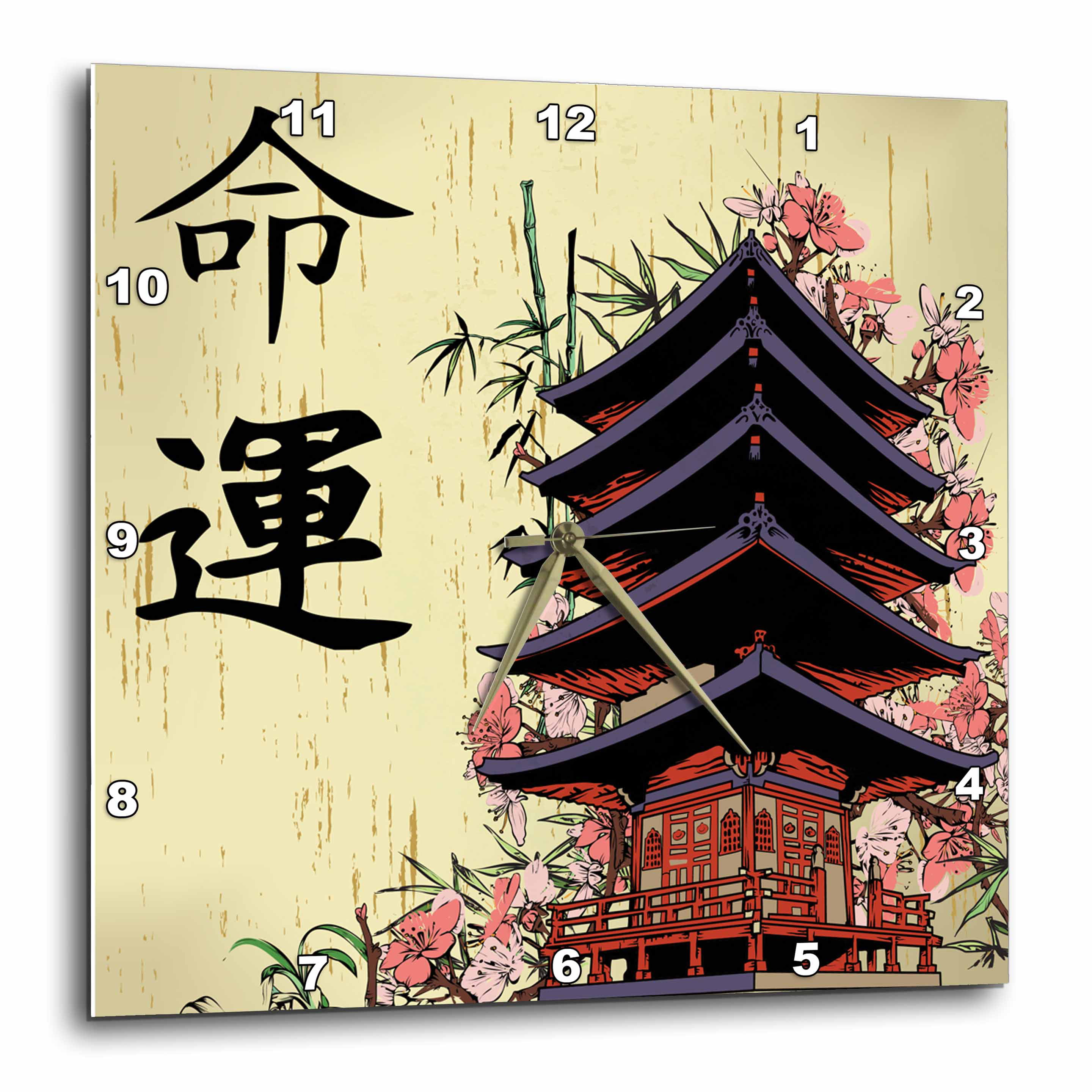 3dRose Beautiful Japanese Pagoda With Pink Sakura and Bamboo Destiny ...