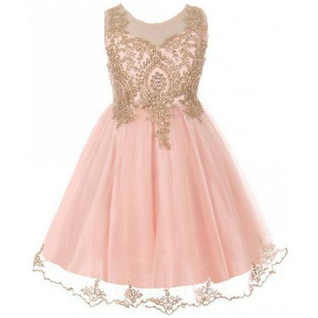 Little Girls Dress Sparkle Rhinestones Holiday Christmas Party Flower Girl Dress Blush Size 4 (M10BK49)