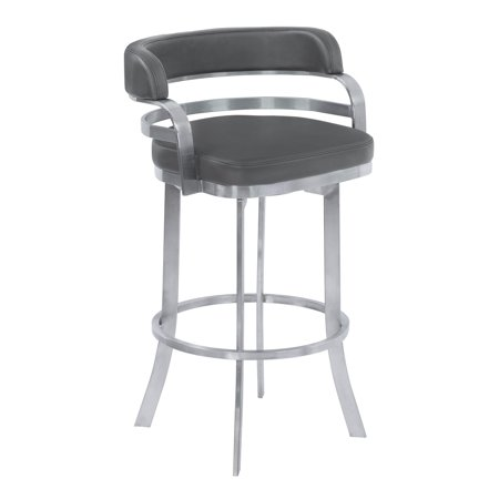 Armen Living Prinz Metal Swivel Barstool in Gray Faux Leather with Brushed Stainless Steel Finish and Gray Walnut Back