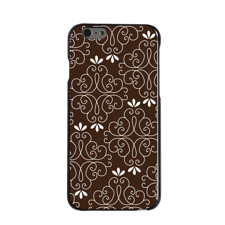 "CUSTOM Black Hard Plastic Snap-On Case for Apple iPhone 6 PLUS / 6S PLUS (5.5"" Screen) - Dark Brown White Floral"