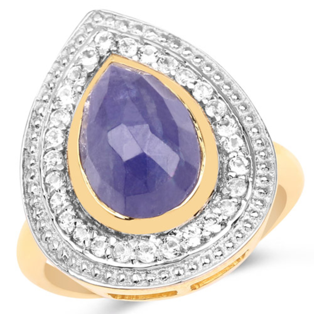 Genuine Pears Tanzanite and White Topaz Ring in Sterling Silver Size 6.00 by Bonyak Jewelry