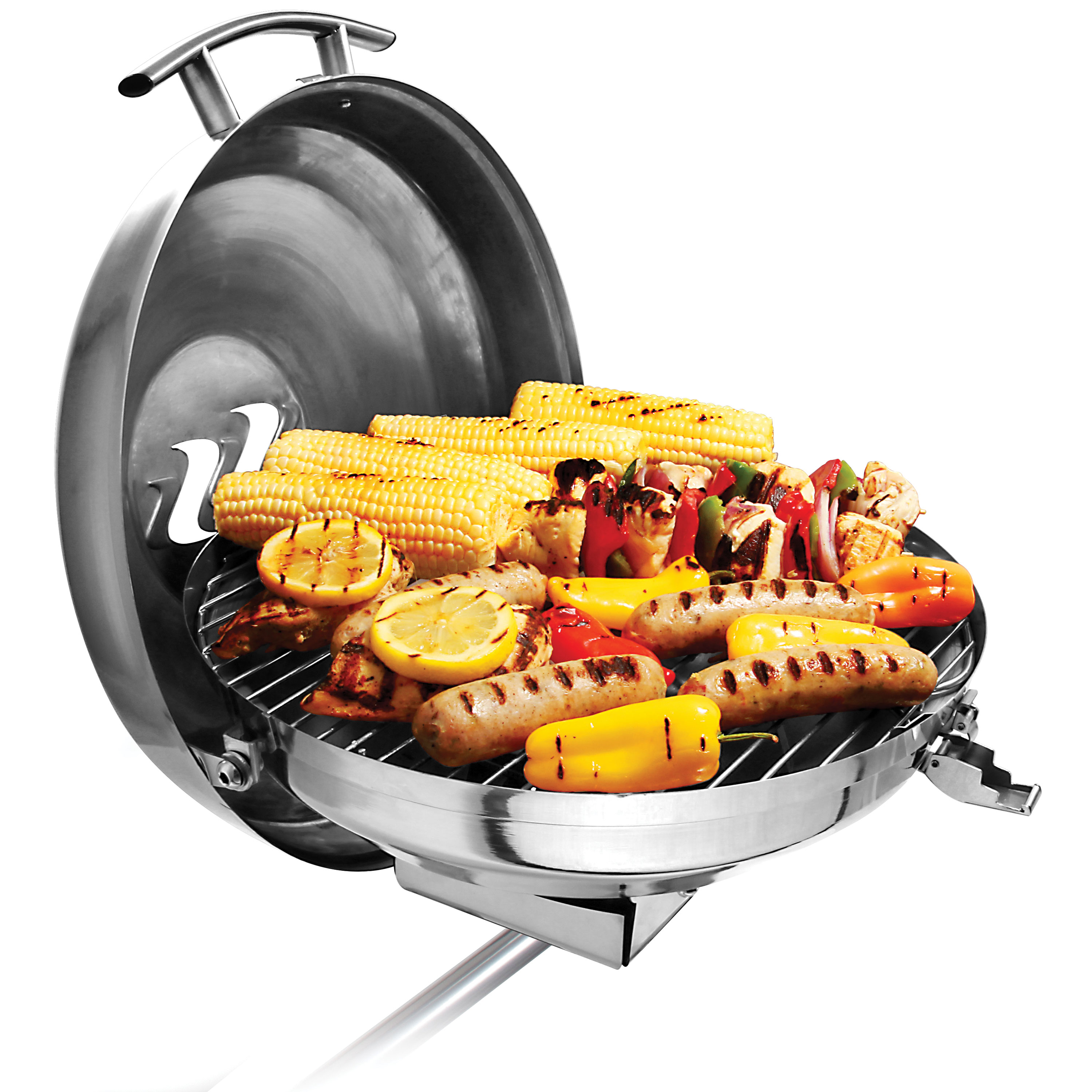 "Kuuma Premium Stainless Steel Kettle Gas Grill by Camco -Compact Portable Size Perfect for Boats, Tailgating and More - Stow N Go 160"" (58102)"