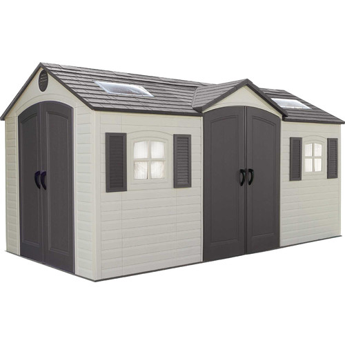 Lifetime Dual Entry 14 ft. 7 in. W x 7 ft. 8 in. D Plastic Storage Shed
