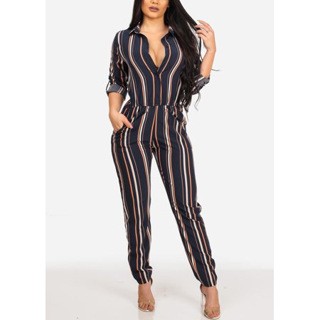 Womens Juniors Stylish Trendy Navy Stripe Going Out Lightweight Button Up Jumpsuit Jumper With Pockets 10945V