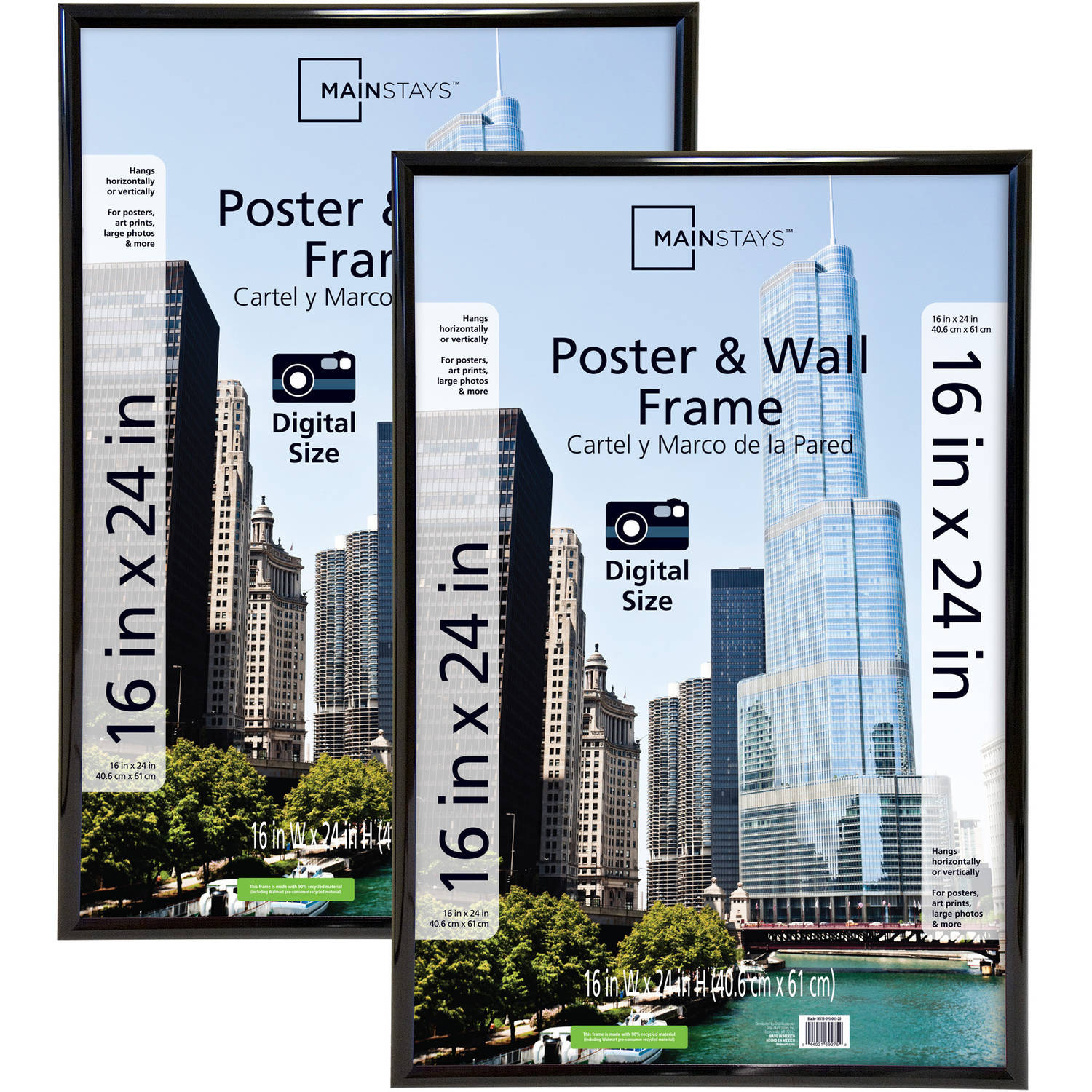Mainstays 16x24 Trendsetter Poster and Picture Frame, Black, Set of 2