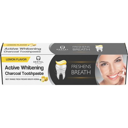 Dental Expert Activated Charcoal Teeth Whitening Toothpaste Destroys Bad Breath - Best Natural Black Tooth Paste Kit -lemon Flavor - 105g (3.70oz) (Best Natural Toothpaste)