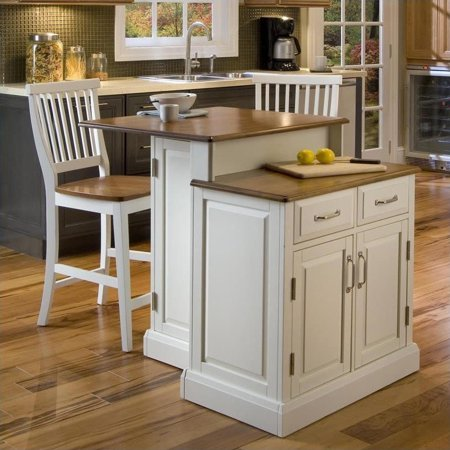 Astonishing Home Styles Woodbridge Two Tier Kitchen Island And Stools Set In White And Oak Walmart Canada Short Links Chair Design For Home Short Linksinfo