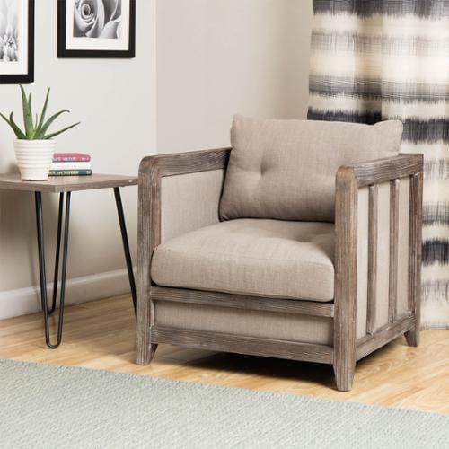I Love Living Creston Beige Linen Reclaimed Finish Arm Chair