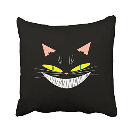 WinHome Cute Funny Happy Halloween Cool Cat Smile Watercolor Polyester 18 x 18 Inch Square Throw Pillow Covers With Hidden Zipper Home Sofa Cushion Decorative Pillowcases - Cool Halloween Cover Photos