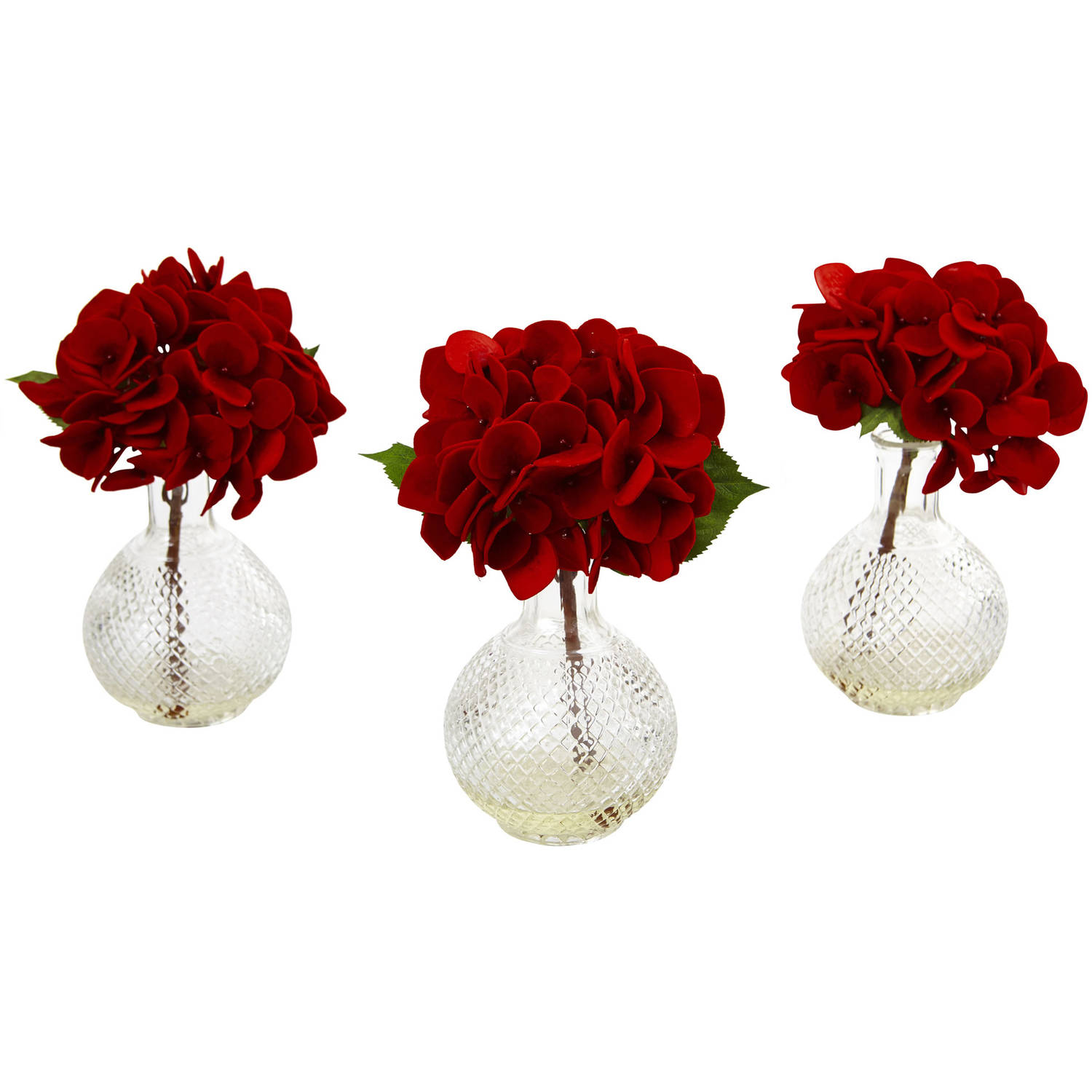 Nearly Natural Red Hydrangea with Glass Vase, Set of 3