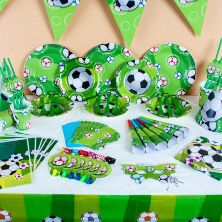 Micelec Fashion Football Theme Party Supplies Kids Boys Birthday Tableware Decor Tool