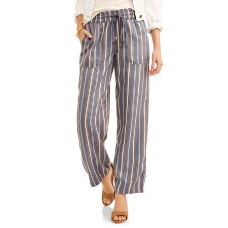 abb828786d French Laundry - Women's Vertical Stripe Wide Leg Twill Pant - Walmart.com