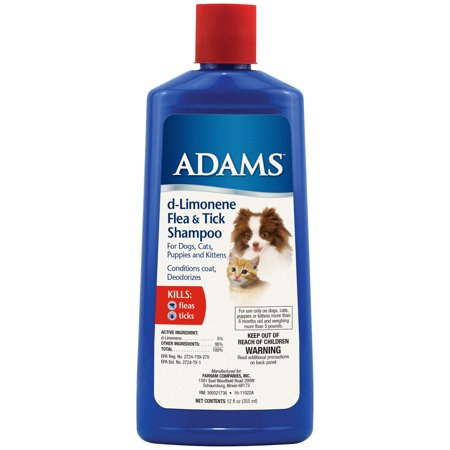 Adams Flea & Tick Control Shampoo for Cats and Dogs with d-Limonene 12 Ounces (Dog Flea And Tick Control)