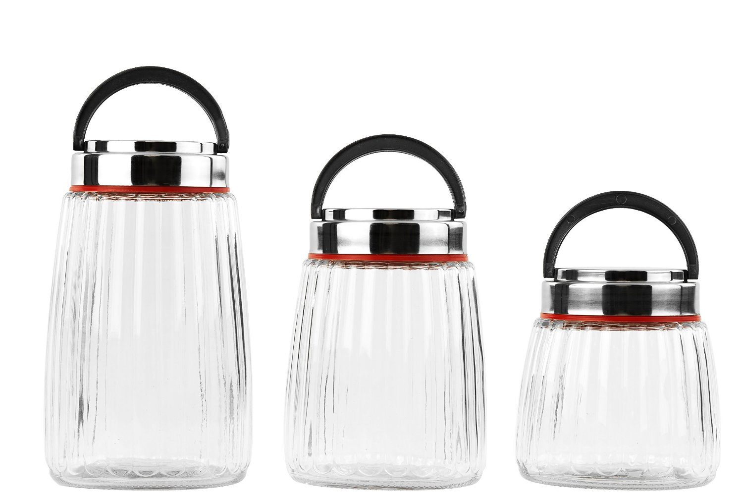 6 Piece Round Glass Cookie Jar with Easy to Carry Handle Lid by