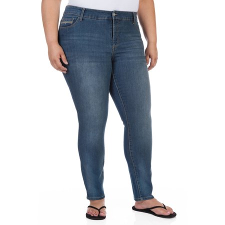 NYDJ Sheri Skinny Plus Size Jeans. NYDJ A dark-wash skinny jean, such as the NYDJ style pictured here, is definitely the most slimming option for plus-size women. You probably already know that wearing dark-colored clothing can visually minimize body areas, while lighter colors can make things look bigger.