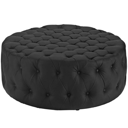 - Hawthorne Collections Faux Leather Ottoman in Black