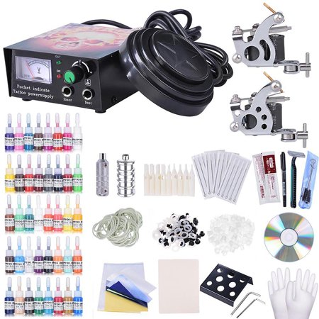 Complete Tattoo Kit 2 Machine 40 Inks Power Supply 10 Wraps Grip Tip Foot Switch ()