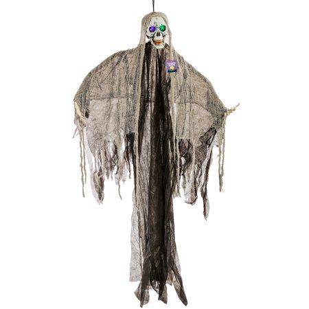 Halloween Haunters Hanging Skeleton Reaper Ghost with Light-Up Eyes - Prop Decoration for $<!---->