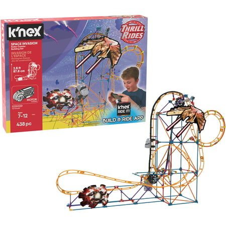 K'NEX Thrill Rides – Space Invasion Roller Coaster 438 Piece Building Set - Halloween Roller Coaster Minecraft