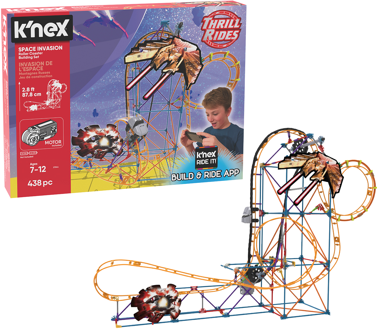 K/'NEX Thrill Rides Panther Attack Roller Coaster Building Set with Ride It ...