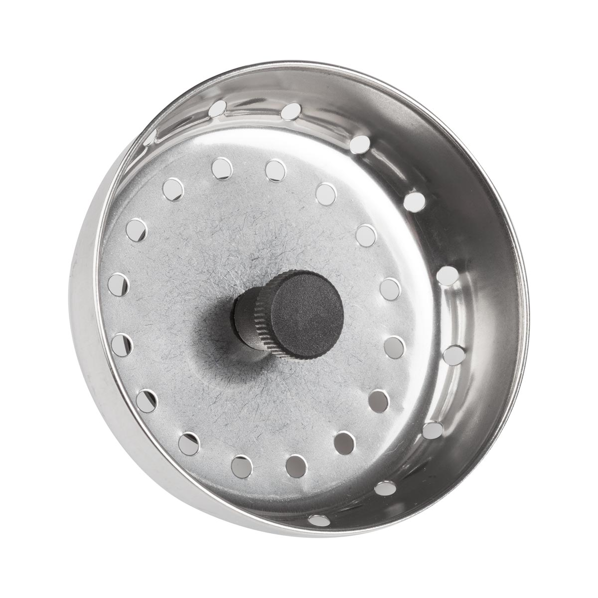 "Click here to buy 3"" Diameter Stainless Steel Sink Strainer with Stopper by Winco."