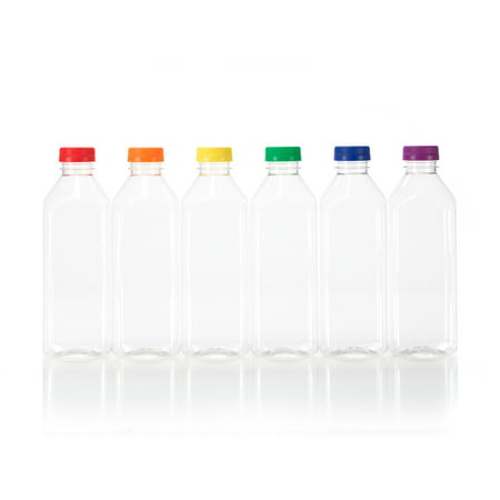16 oz  Plastic Bottles with Assorted Color Tamper Evident Caps, 6-pack