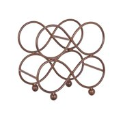 4 Bottle Table Top Rectangular Rustic Brown Iron Wine Rack With Circular Figure Eight Design For