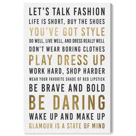 6cd27db3e0a58 Runway Avenue 'Fashion Reminders Gold' Typography Wall Art - Inspirational  Quotes and sayings Be Daring Inspiring Style and Glamour Modern ...