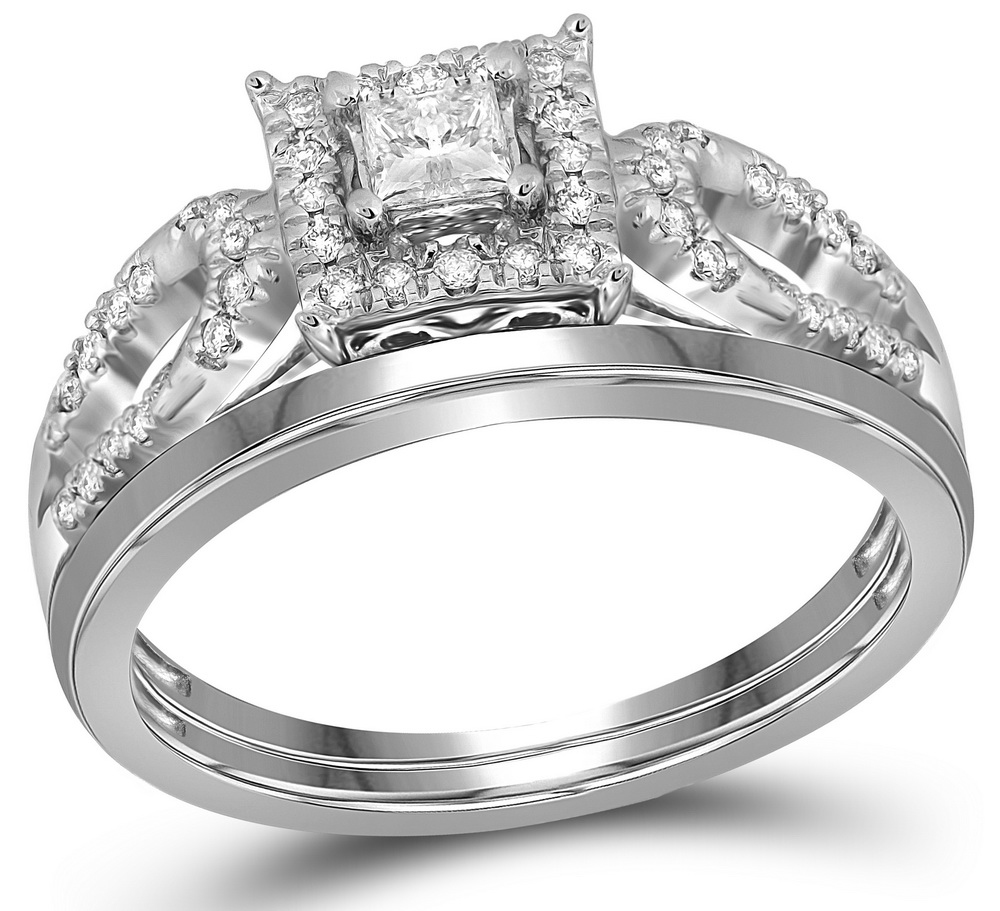 10kt White Gold Womens Diamond Round Bridal Wedding Engagement Ring Band Set 1 4 Cttw by GND