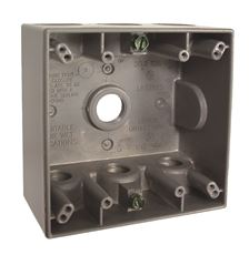 """HUBBELL WEATHERPROOF BOX DOUBLE GANG  SEVEN 1/2"""" OUTLETS GRAY"""