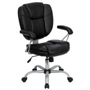 Flash Furniture Mid-Back Black LeatherSoft Swivel Task Office Chair with Pillow Top Cushioning and Platinum Epoxy Base & Arms