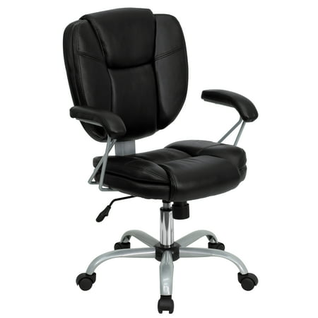 Flash Furniture Mid-Back Black LeatherSoft Swivel Task Office Chair with Pillow Top Cushioning and Platinum Epoxy Base & Arms Chain Platinum Cross