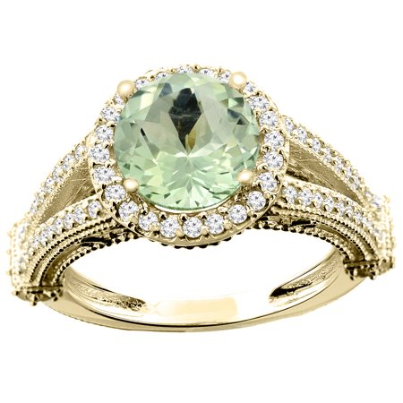 10K Yellow Gold Genuine Green Amethyst Ring Round 8mm Diamond Accent size 5.5