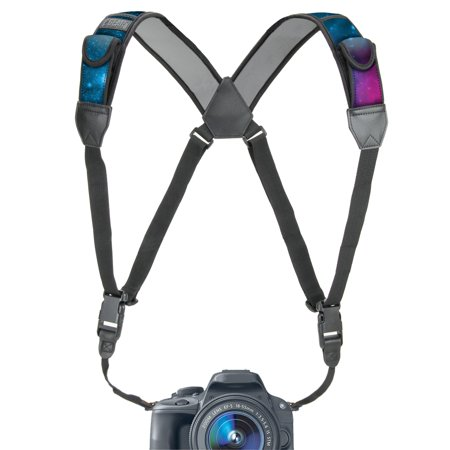 - Camera Strap Chest Harness with Galaxy Neoprene and Accessory Pockets by USA GEAR - Works with Canon , Nikon , Fujifilm , Sony , Panasonic and More DSLR , Point & Shoot , Mirrorless Cameras