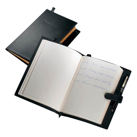 Journal with Nappa Leather Jacket, Pen Loop & Bookmark (Black)