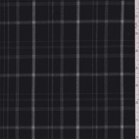 Black White Windowpane Plaid Polyester Suiting Fabric By The Yard