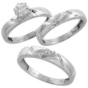 10k white gold diamond trio engagement wedding ring set for him and her 3 piece - Wedding Rings Set For Him And Her