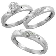 10k white gold diamond trio engagement wedding ring set for him and her 3 piece - White Gold Wedding Rings For Her