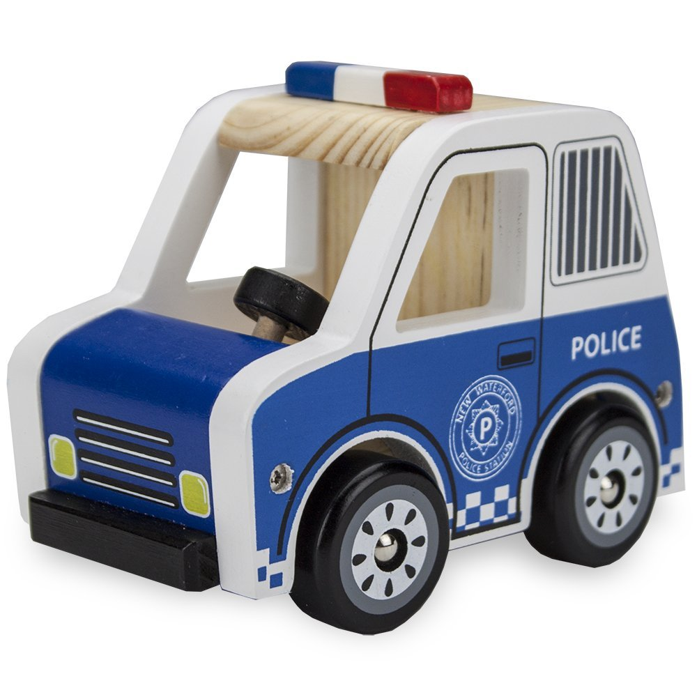 Kids Wooden Cars, Wooden Wheels Natural Beech Wood Police Cruiser Wooden Car Toys