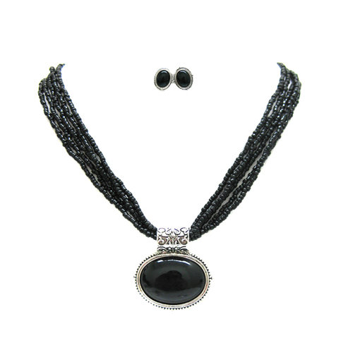 TAZZA WOMEN'S BLACK EARRINGS AND NECKLACES