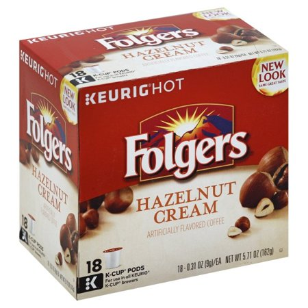 Folgers Hazelnut Cream Coffee, K-Cup Pods for Keurig K-Cup Brewers, 18 Count