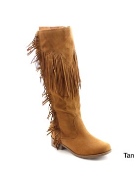 da532bd41ab5 Product Image NATURE BREEZE RILEY-01 Women s Fringe Side Zipper Dress Knee  High Boots