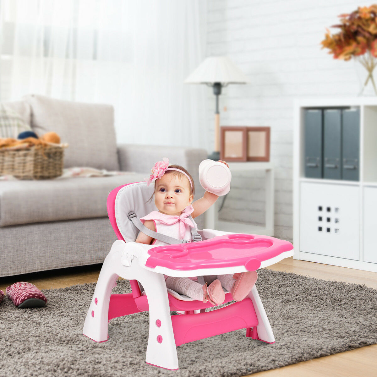 3 in 1 Baby High Chair Convertible Play Table Seat Booster Toddler Feeding Tray - image 8 de 10