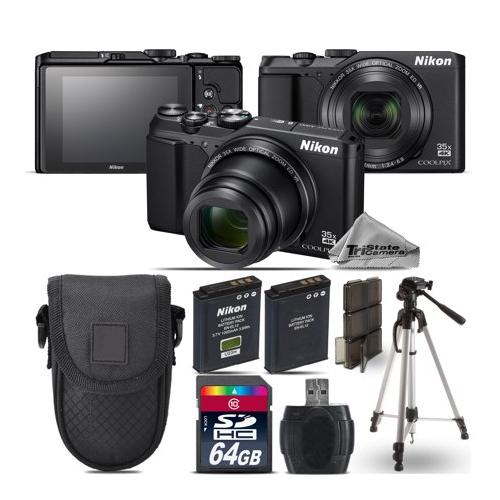 Nikon Coolpix A900 Point and Shoot Digital Camera - Black - Kit C