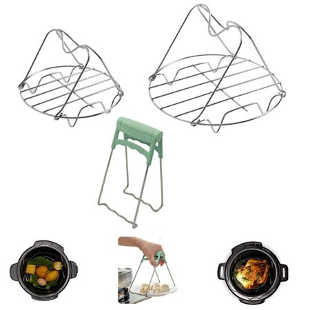 Steamer Rack Trivet with Handles Compatible for Instant Pot 6 & 8 qt Cookware Accessories Dish Plate Clip - Great for Lifting Out Springform Pan/Cheesecake Pan Copper Plated Oval Pot Rack