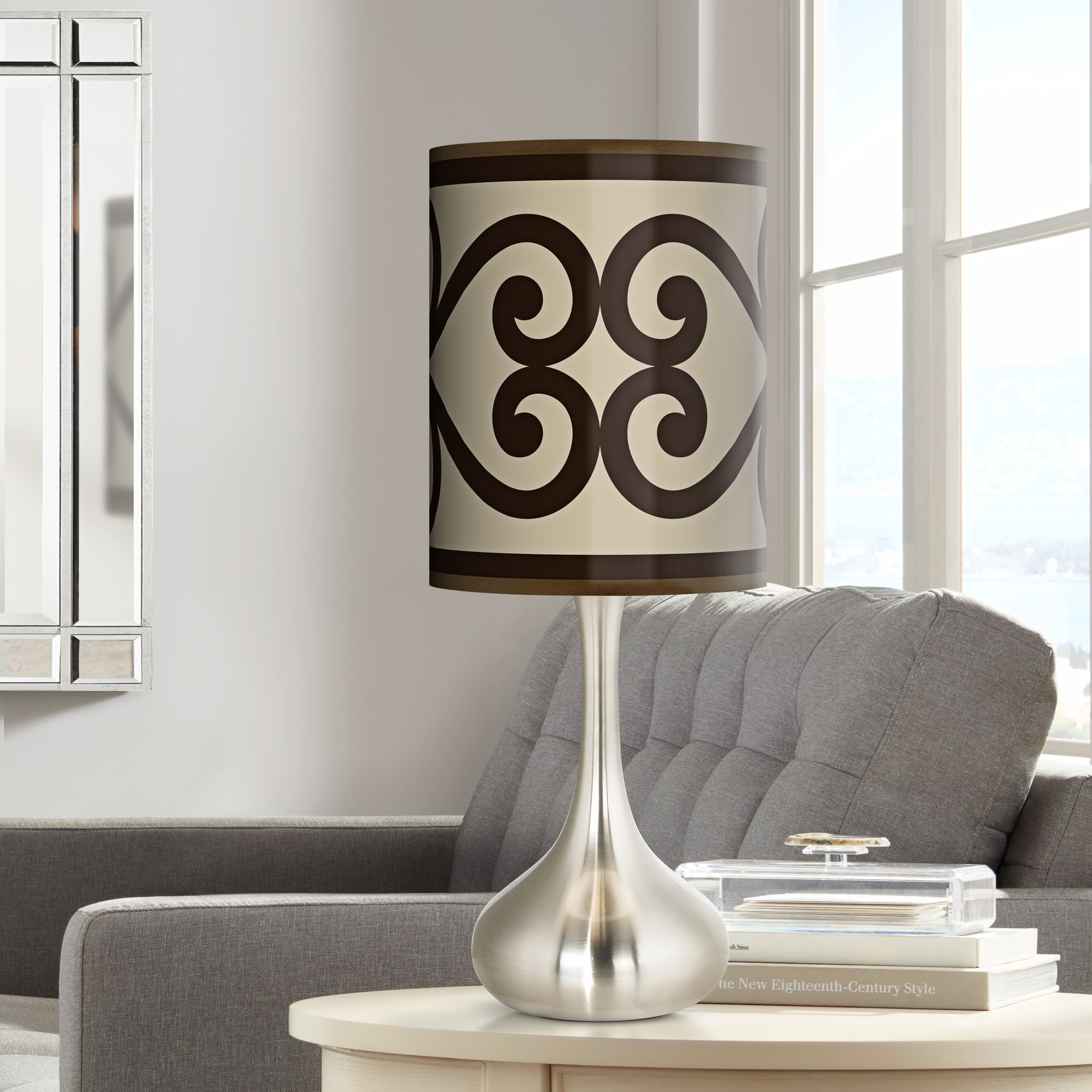 Giclee Glow Cambria Scroll Giclee Droplet Table Lamp