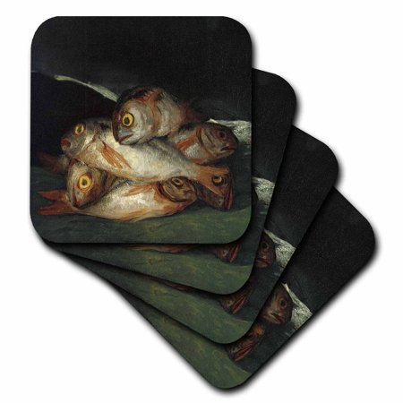 3dRose Still Life with Golden Bream by Francisco de Goya Table with Fish, Soft Coasters, set of 4