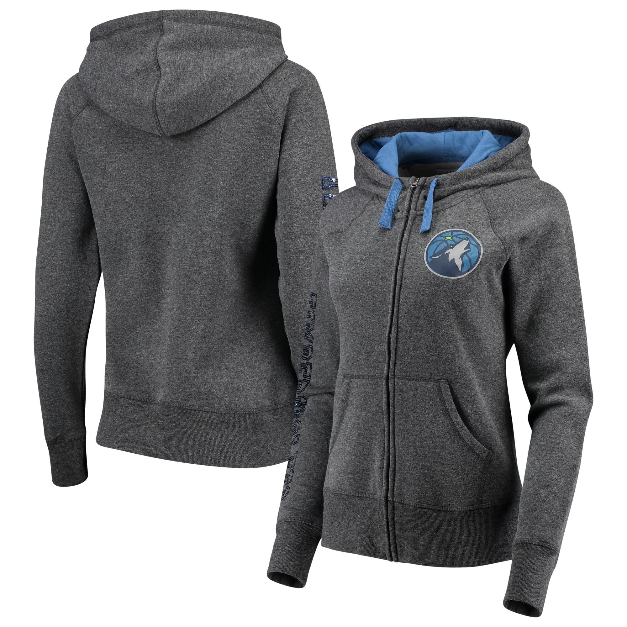 Minnesota Timberwolves G-III 4Her by Carl Banks Women's Playoff Suede Fleece Full-Zip Jacket - Charcoal/Blue